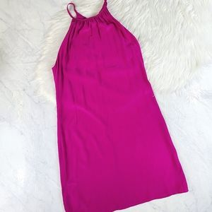 Amanda Uprichard Fuschia Halter Silk Slip Dress